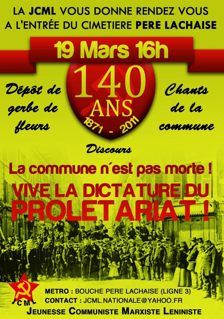 Appelant à commémorer les 140 ans de la Commune de Paris